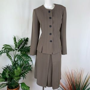 Leslie Fay Tan Brown Skirt Suit Size 12